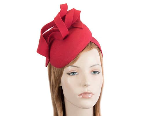 Red felt pillbox fascinator by Fillies Collection Fascinators.com.au