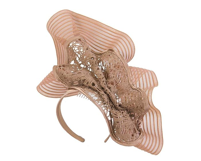 Tall taupe lace fascinator by Fillies Collection Fascinators.com.au