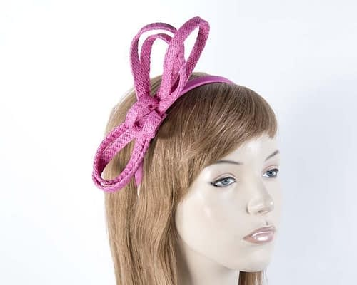 Stylish fuchsia loops on headband Fascinators.com.au