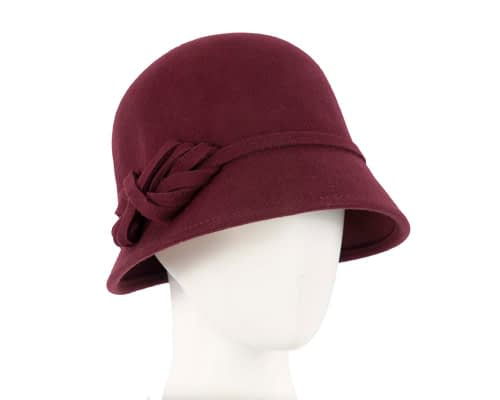 Burgundy felt bucket hat Fascinators.com.au