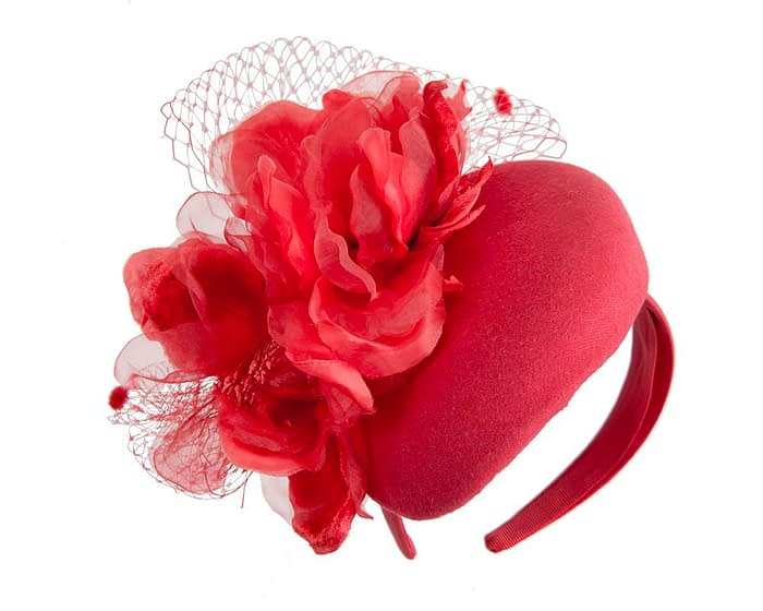 Red winter pillbox fascinator with flower by Fillies Collection Fascinators.com.au