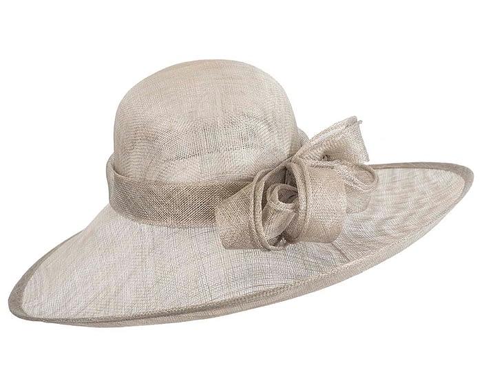 Wide brim silver sinamay racing hat by Max Alexander Fascinators.com.au