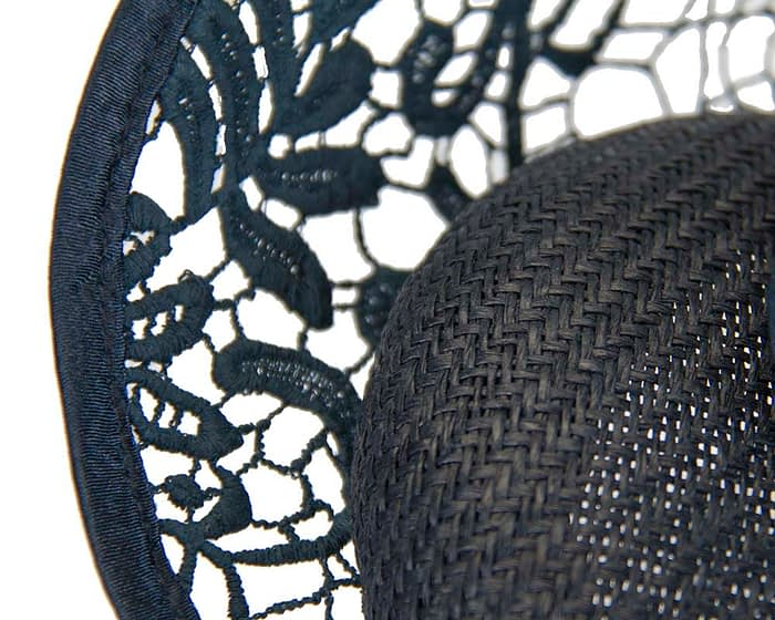 Navy lace headpiece Fascinators.com.au