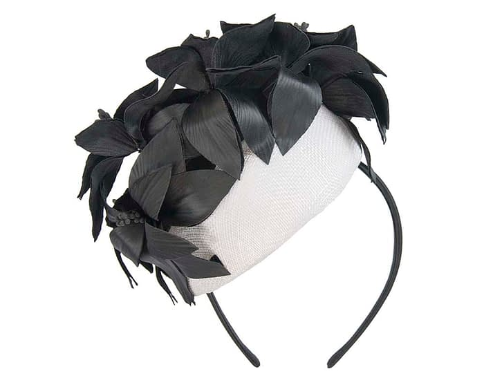 White & black leather flowers pillbox by Fillies Collection Fascinators.com.au