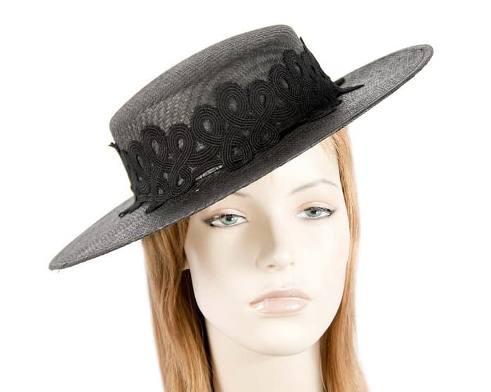 Black boater lace hat Fascinators.com.au