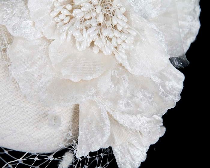 Cream winter felt pillbox with face veil by Fillies Collection Fascinators.com.au