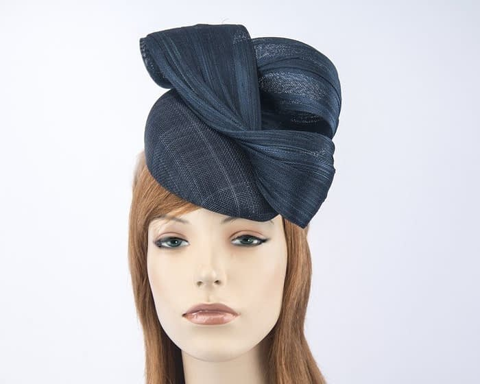 Australian made navy Fillies Collection pillbox fascinator S163N Fascinators.com.au