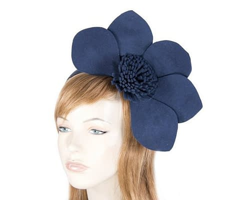Large navy felt winter fascinator Fascinators.com.au