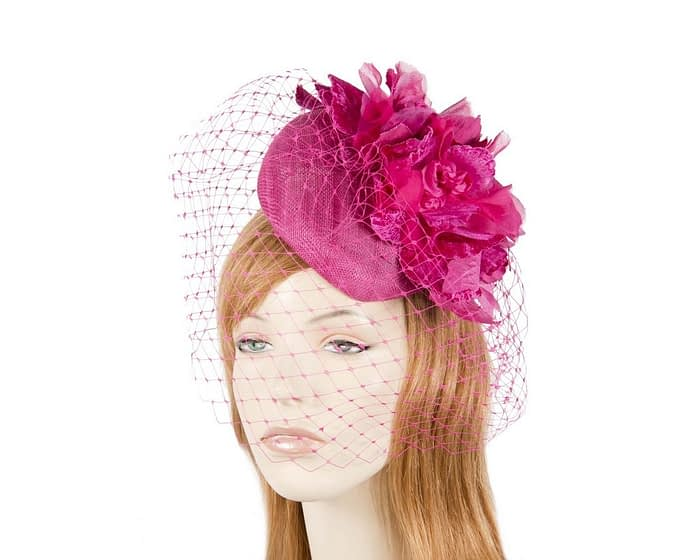 Fuchsia flower pillbox with face veiling Fascinators.com.au