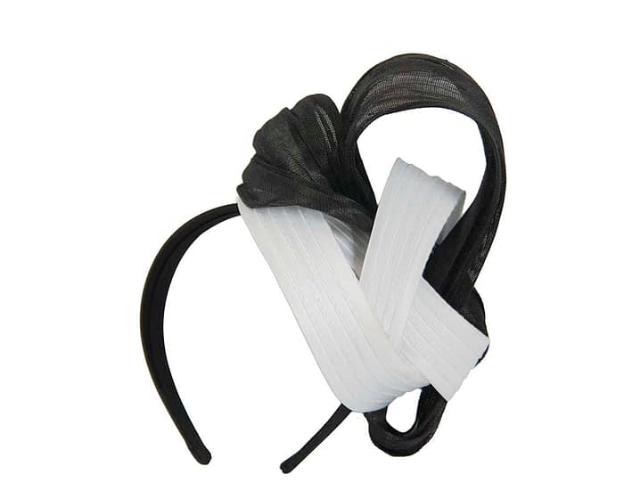 White & black racing fascinator by Fillies Collection Fascinators.com.au