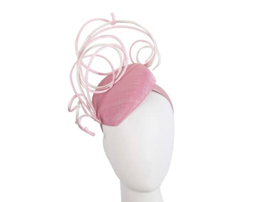 Bespoke pink & cream wire loops pillbox racing fascinator by Fillies Collection Fascinators.com.au