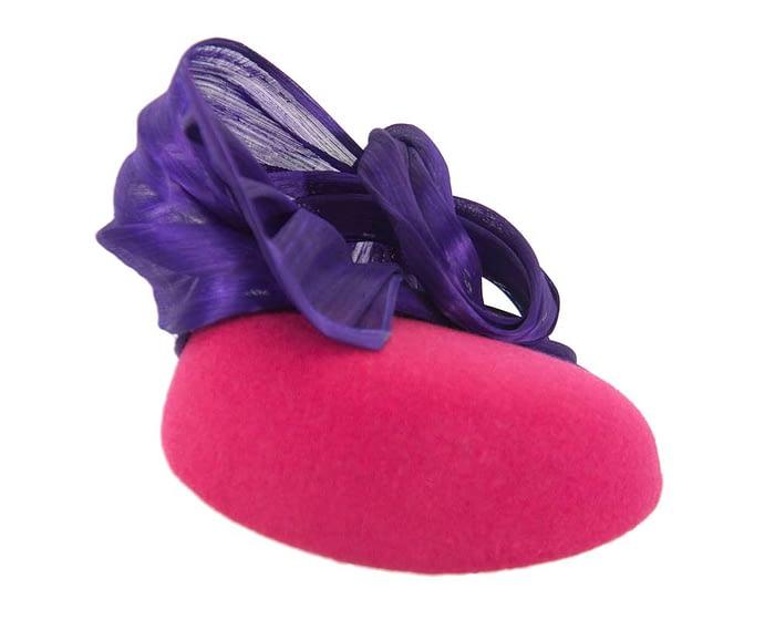 Fuchsia & purple pillbox with silk abaca bow Fascinators.com.au