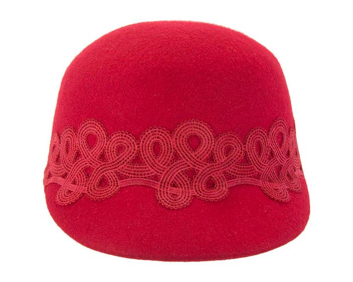 Red felt fashion cap with lace Fascinators.com.au
