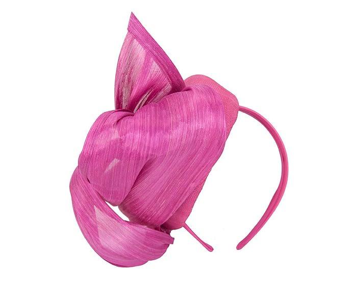 Fuchsia pillbox with silk abaca bow Fascinators.com.au