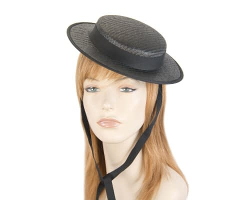 Black mini boater hat by Max Alexander Fascinators.com.au MA816 black
