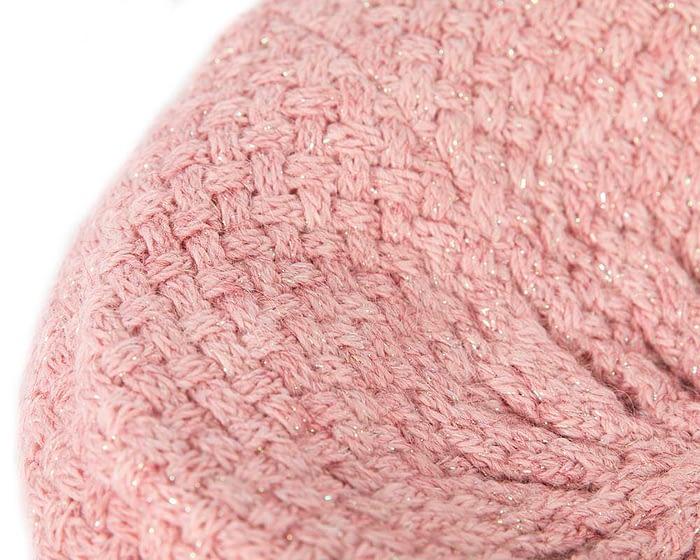 Classic warm crocheted pink wool beret. Made in Europe Fascinators.com.au