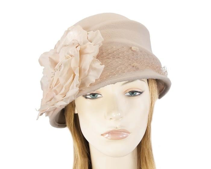 Beige felt bucket hat with flower Fascinators.com.au