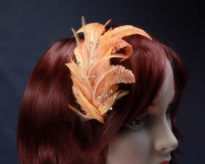 Orange feather comb 4400OR Fascinators.com.au