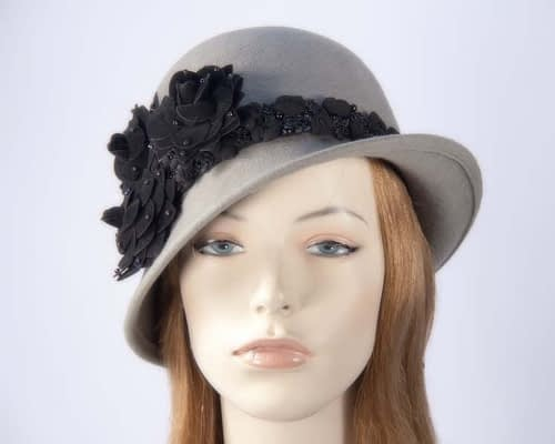 Grey felt laies bucket hat F573G Fascinators.com.au