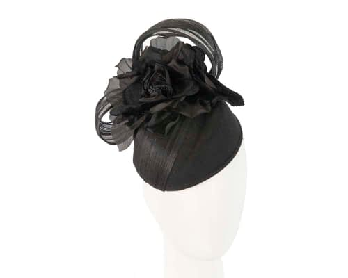 Black winter ladies pillbox fascinator hat F570B Fascinators.com.au