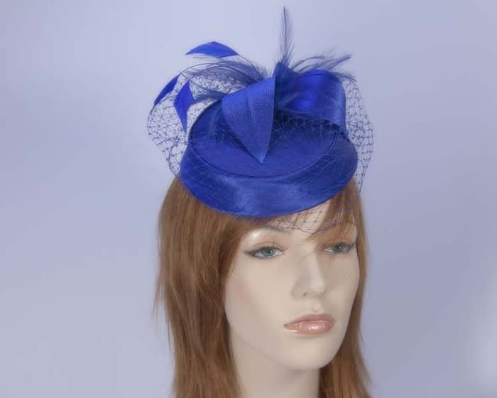 Blue pillbox hat K4811BL Fascinators.com.au