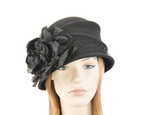 Black felt bucket hat with flower Fascinators.com.au