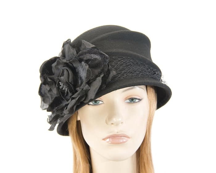 Black felt bucket hat with flower Fascinators.com.au