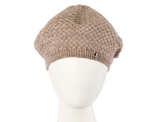 Classic warm crocheted sand beige wool beret. Made in Europe Fascinators.com.au