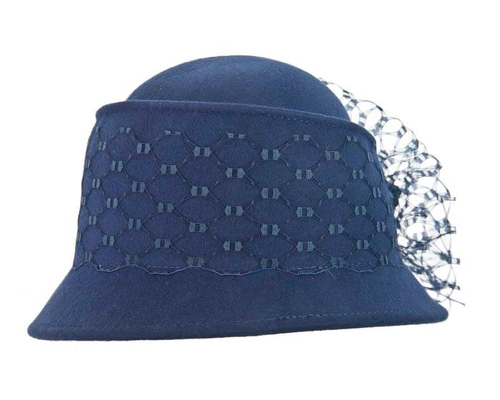 Navy ladies felt winter hat with flower F569N Fascinators.com.au