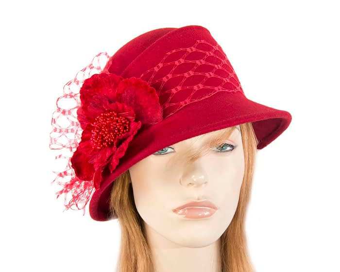 Red ladies felt winter hat with flower F569R Fascinators.com.au