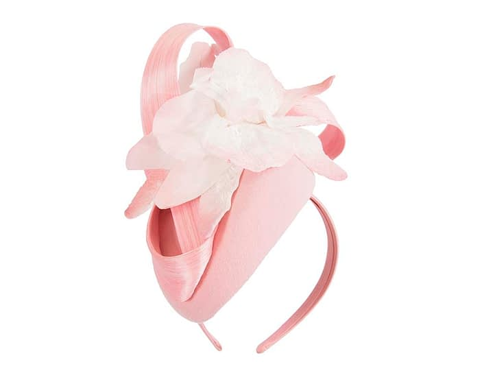 Bespoke pink pillbox winter fascinator with flower by Fillies Collection Fascinators.com.au