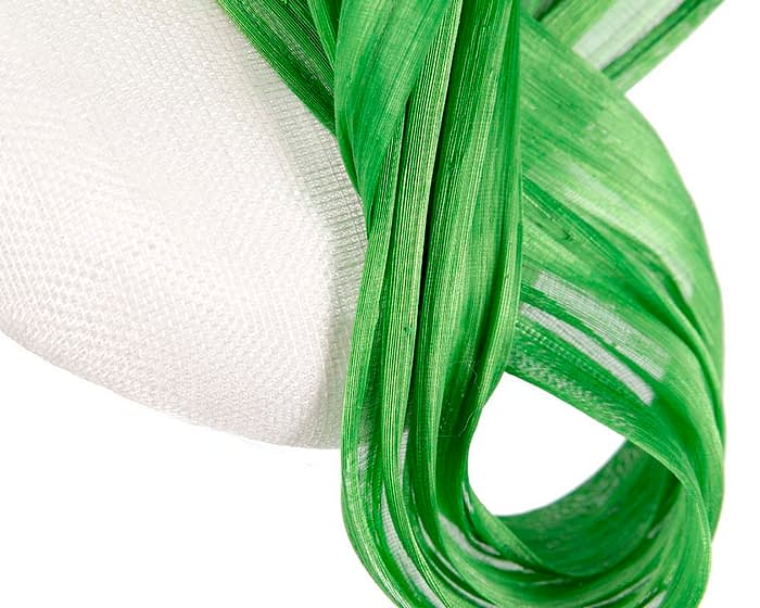 White & lime pillbox silk abaca bow Fascinators.com.au