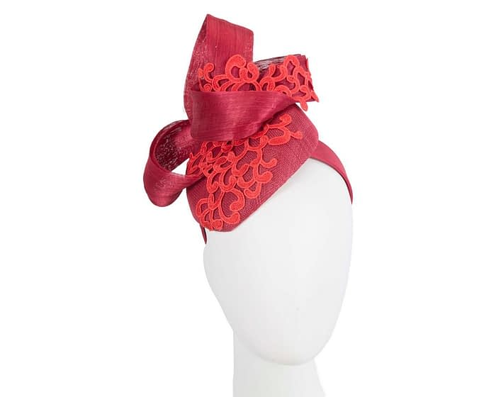 Red lace pillbox Australian Made racing fascinator by Fillies Collection Fascinators.com.au