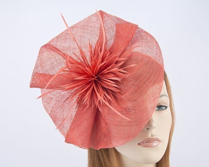 Large coral Max Alexander fascinator for Melbourne Cup races MA691CO Fascinators.com.au