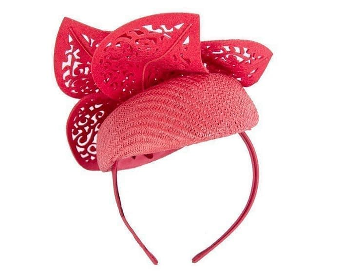 Red pillbox laser cut trim Fascinators.com.au
