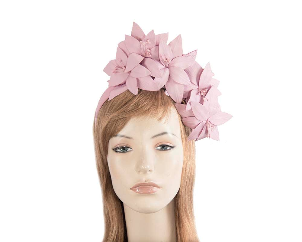 Lavender leather flower headband fascinator Fascinators.com.au