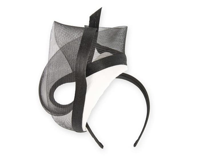 Stunning white & black racing fascinator Fascinators.com.au
