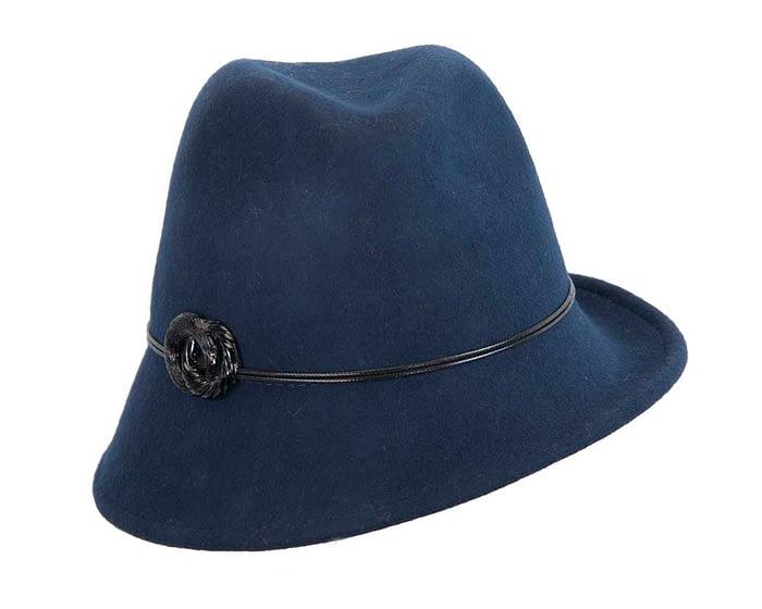 Navy ladies felt trilby hat by Max Alexander Fascinators.com.au