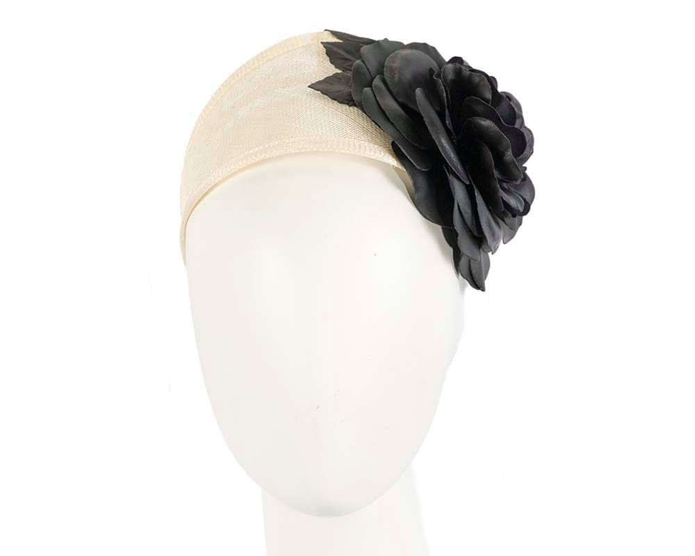 Cream and black leather flower headband racing fascinator Fascinators.com.au