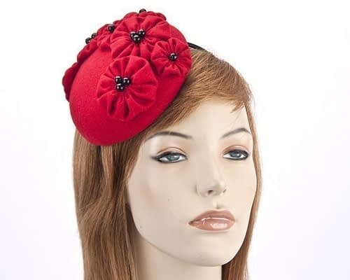 Small round red winter fascinator with flowers J308R Fascinators.com.au