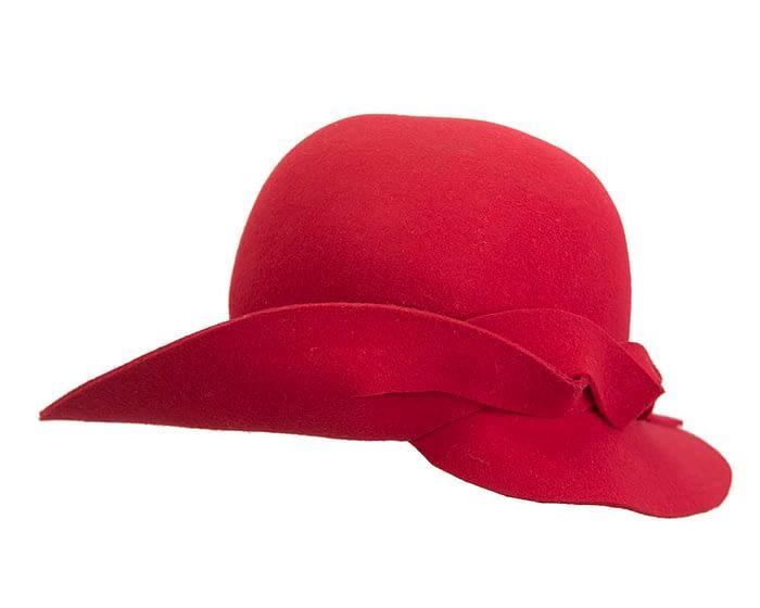 Unusual wide brim red felt hat by Max Alexander Fascinators.com.au