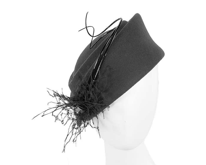 Black Jackie Onassis style felt pillbox F572B Fascinators.com.au