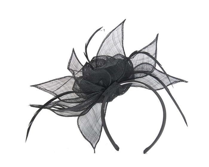 Large black sinamay flower fascinator Fascinators.com.au