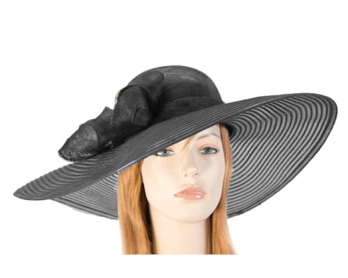 Wide brim black fashion hat Fascinators.com.au