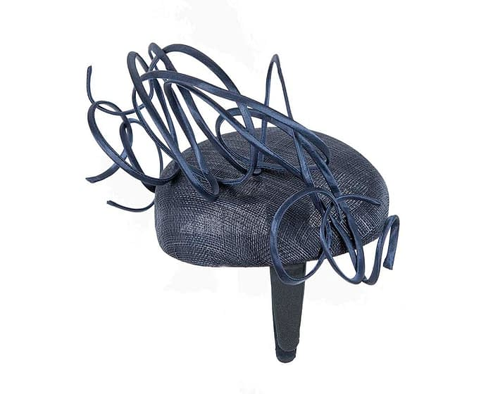 Bespoke navy wire loops racing fascinator by Fillies Collection Fascinators.com.au