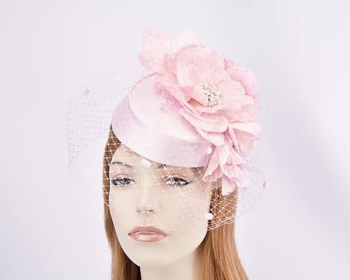 Pink pillbox with flowers and veil K5015PI Fascinators.com.au