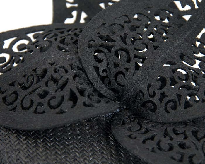 Black pillbox laser cut trim Fascinators.com.au