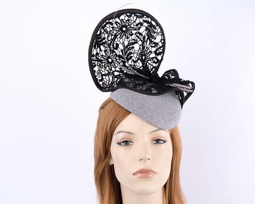 Silver cocktail hat lace trim for winter racing F568S Fascinators.com.au