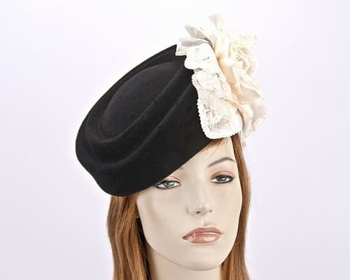 Large black pillbox hat with cream rose flower F593BC Fascinators.com.au