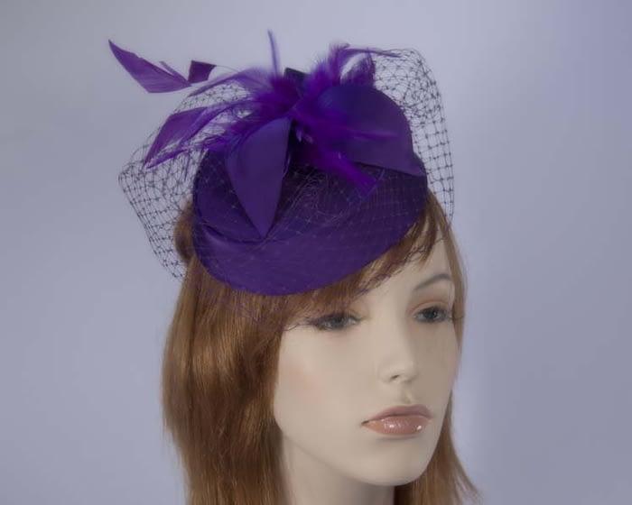 Purple pillbox hat K4811PR Fascinators.com.au